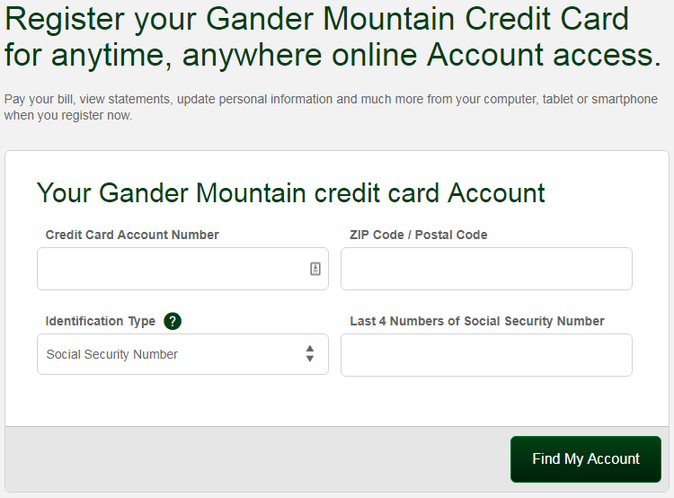 Comenity.net Gander Mountain Credit Card Registration