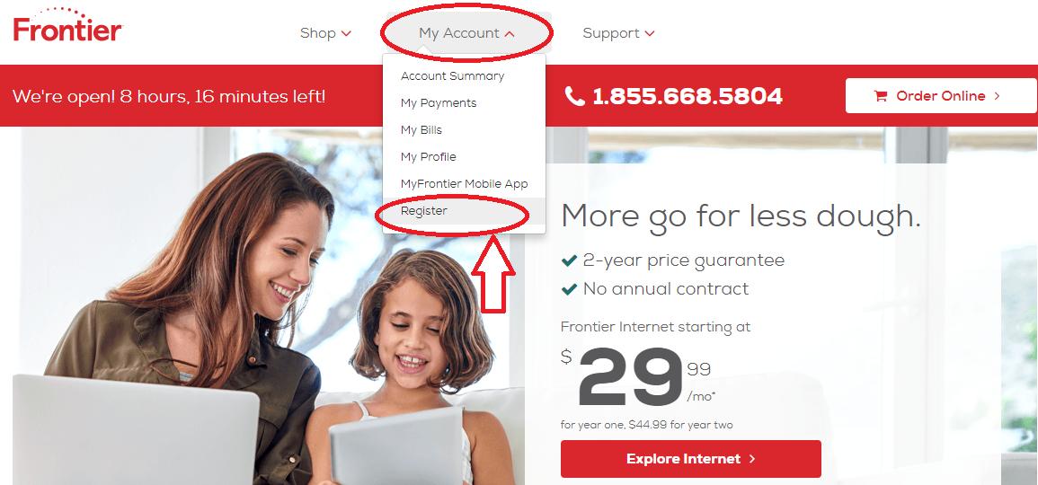 Frontier.com Account Registration
