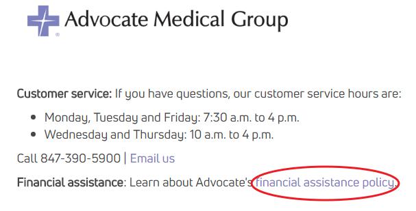 www.AdvocateHealth.com Financial Assistance