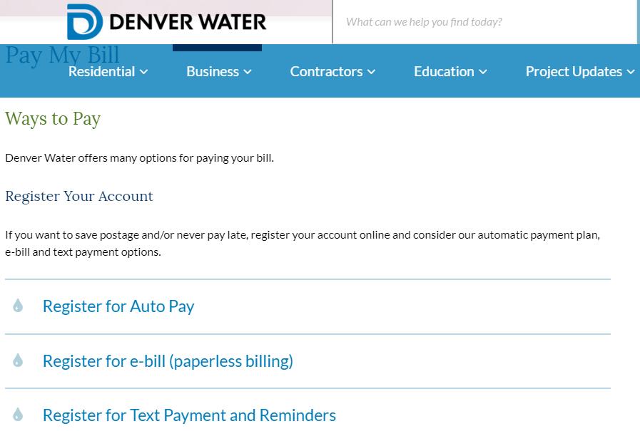 www.DenverWater.org Pay My Bill