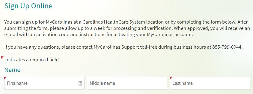 My.CarolinasHealthCare.org Register
