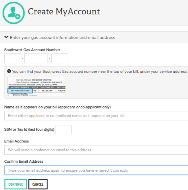 MyAccount.SWGAS.com Create Account