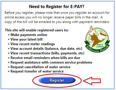 WaterBill.JeffParish.net Register